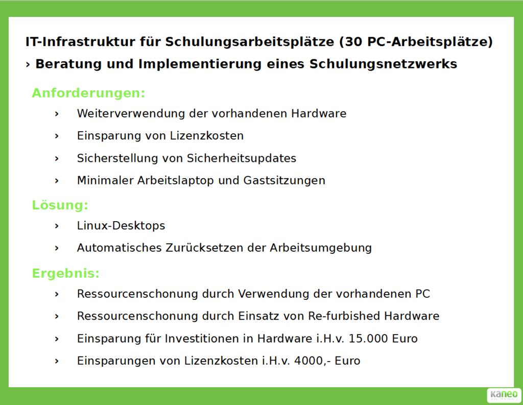 kaneo GmbH - IT-Infrastruktur für Schulungsarbeitsplätz