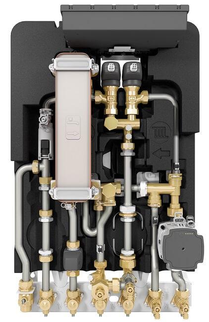 Warmwasser im hygienischen Durchflussprinzip und Einbinden in gemischte oder ungemischte Heizkreise. Die Wohnungsstation Flow 8000 von Junkers Bosch