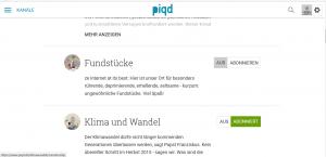 Beitragskanäle bei piqd - eine Auswahl