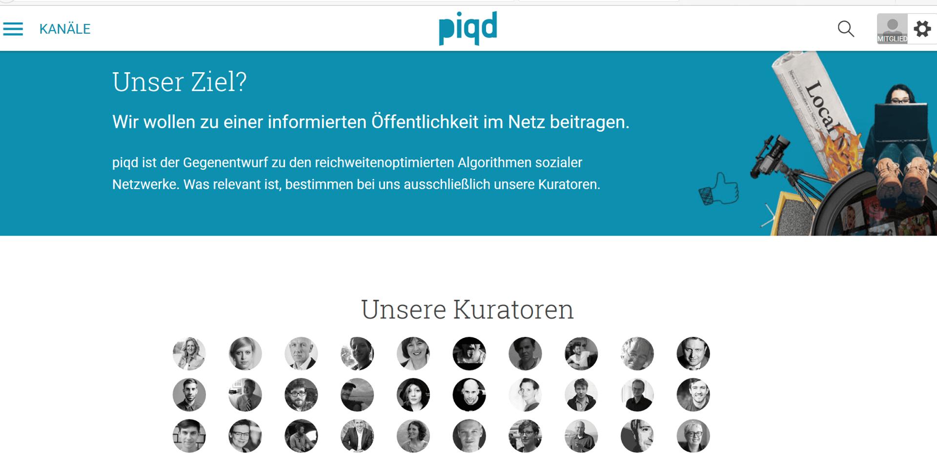 Screenshot des Portals piqd mit Zitat und Bildern von Kuratoren