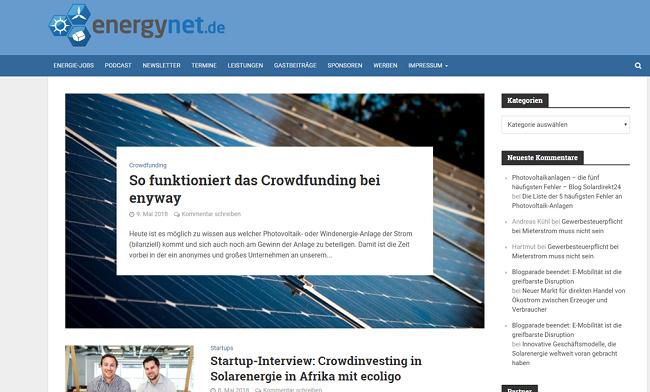 Screenshot Energieblog energynet.de