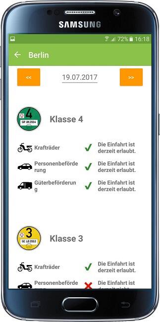 Smartphone App Green-Zones für Umweltzonen