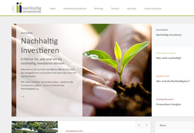 Webportal dient Stärkung nachhaltiger Investment