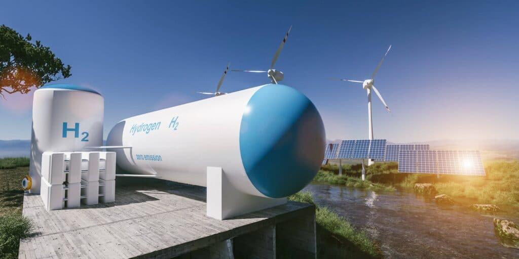 Wasserstoff Energieträger der Zukunft - Bild zeigt Wind- und Solaranlagen mit Power to Gas Anlage
